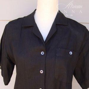 Nordstrom Linen Black Short Sleeved Vintage Shirt
